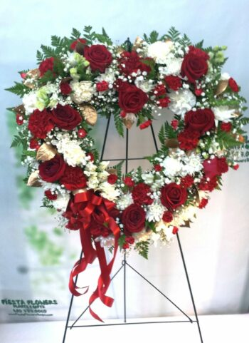 SAME DAY DELIVERY Always Remember Red, White & Gold Floral Heart Tribute