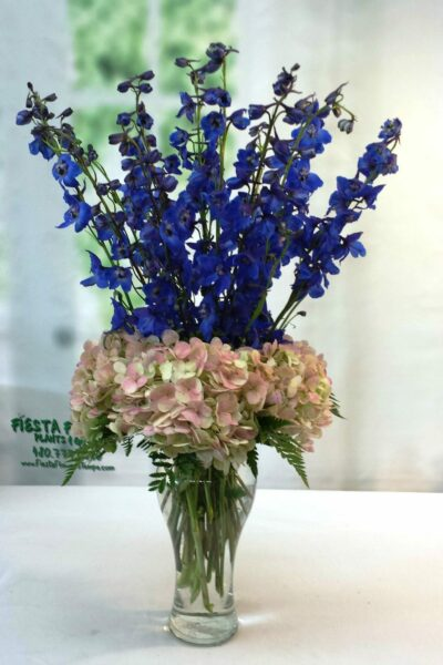 SAME DAY DELIVERY Antique Hydrangea & Delphinium in Diva Vase