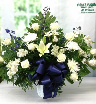 SAME DAY DELIVERY Blue and White Eternity Basket