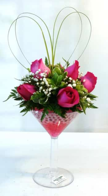 SAME DAY DELIVERY Hot Pink Romance Martini