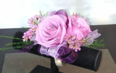 Lavender Rose Corsage with Double Ribbon and Diamond Wristlet (CB-711)