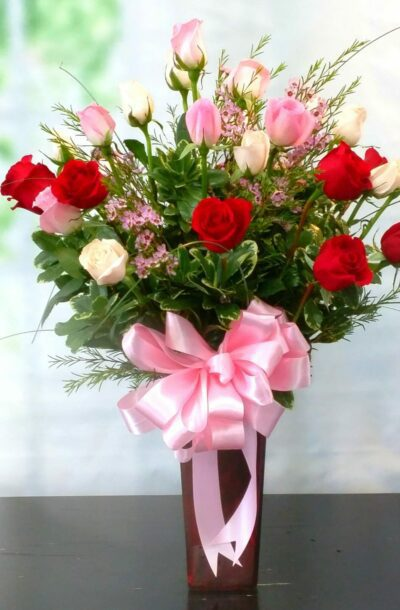 SAME DAY DELIVERY Pink, Red and White Splendor