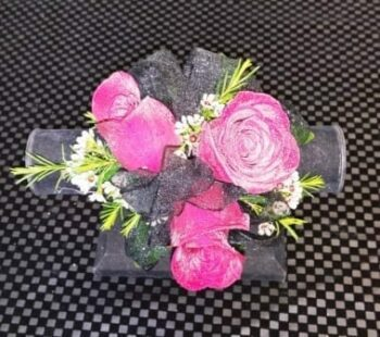 Three Red Rose with Black Ribbon Corsage (CB-719)