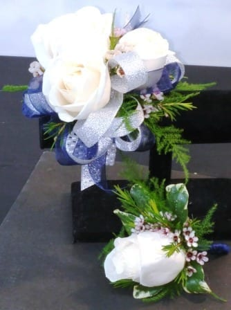 Three White Rose with Navy and Silver Ribbon Combo (CB-721)