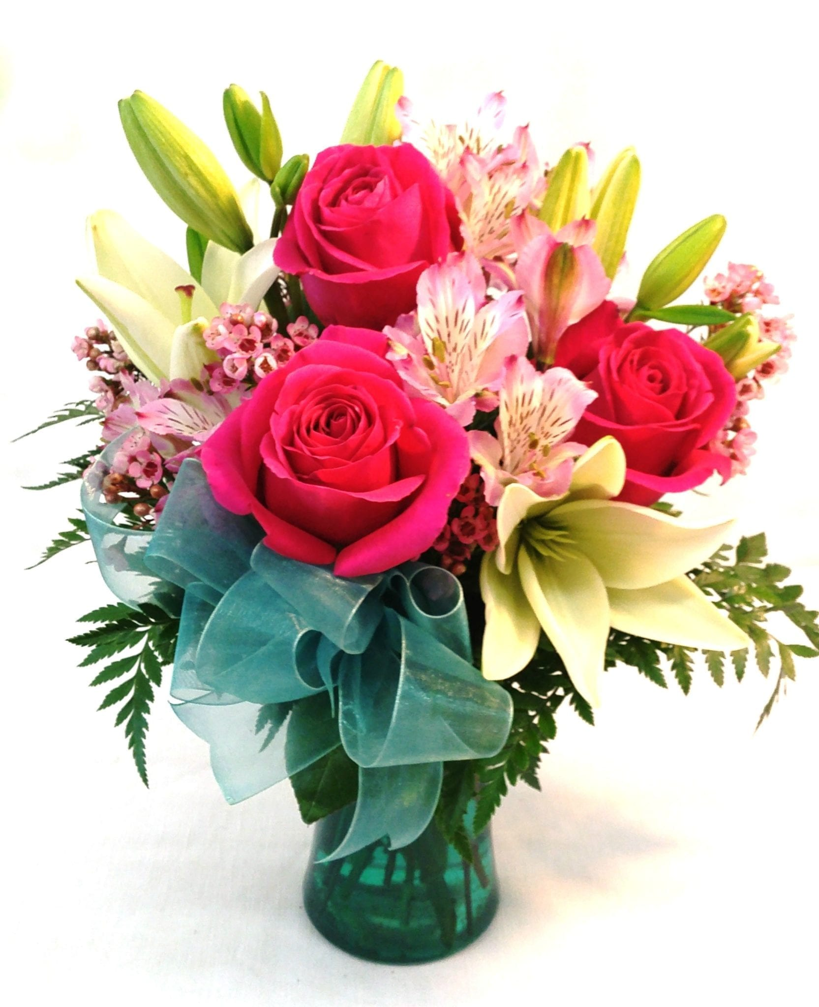 SAME DAY DELIVERY Vintage Rose & Lily Bouquet (V-1124)