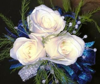 White Rose Corsage with Rhinestones (CB-729)