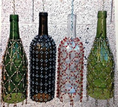 Beaded Wine Bottle Lantern