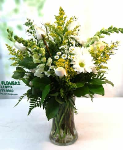 SAME DAY DELIVERY Yellow and White Tribute in a Vase (L-1127)